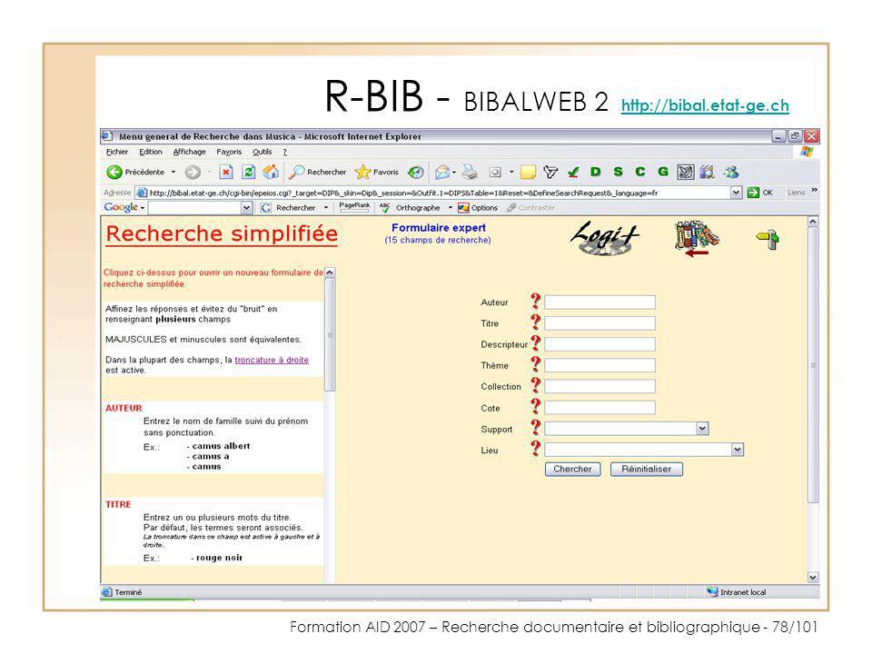 R-BIB - BIBALWEB 2 http://bibal.etat-ge.ch