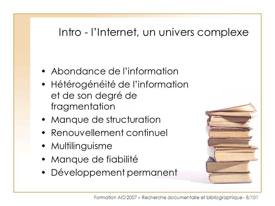 Intro - l'Internet, un univers complexe
