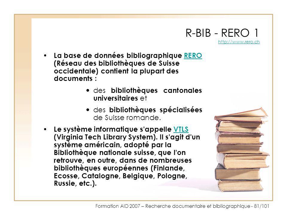 R-BIB - RERO 1 http://www.rero.ch