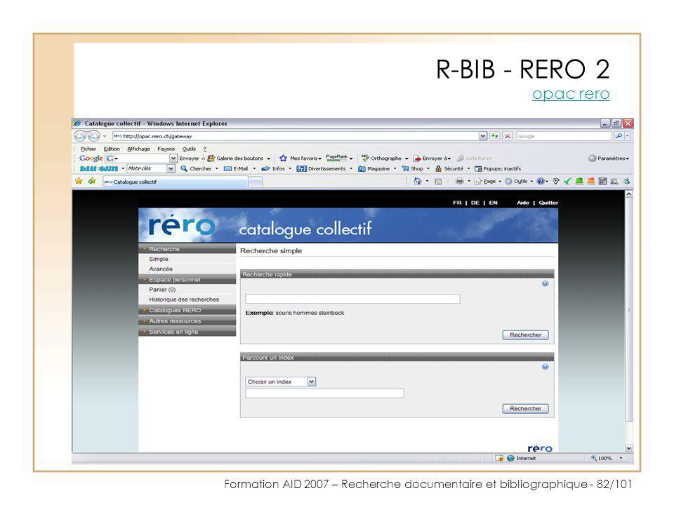 R-BIB - RERO 2 opac rero