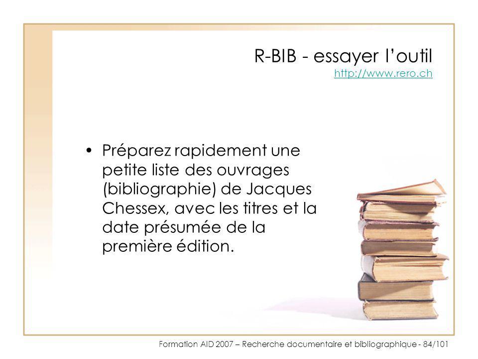 R-BIB - essayer l'outil http://www.rero.ch