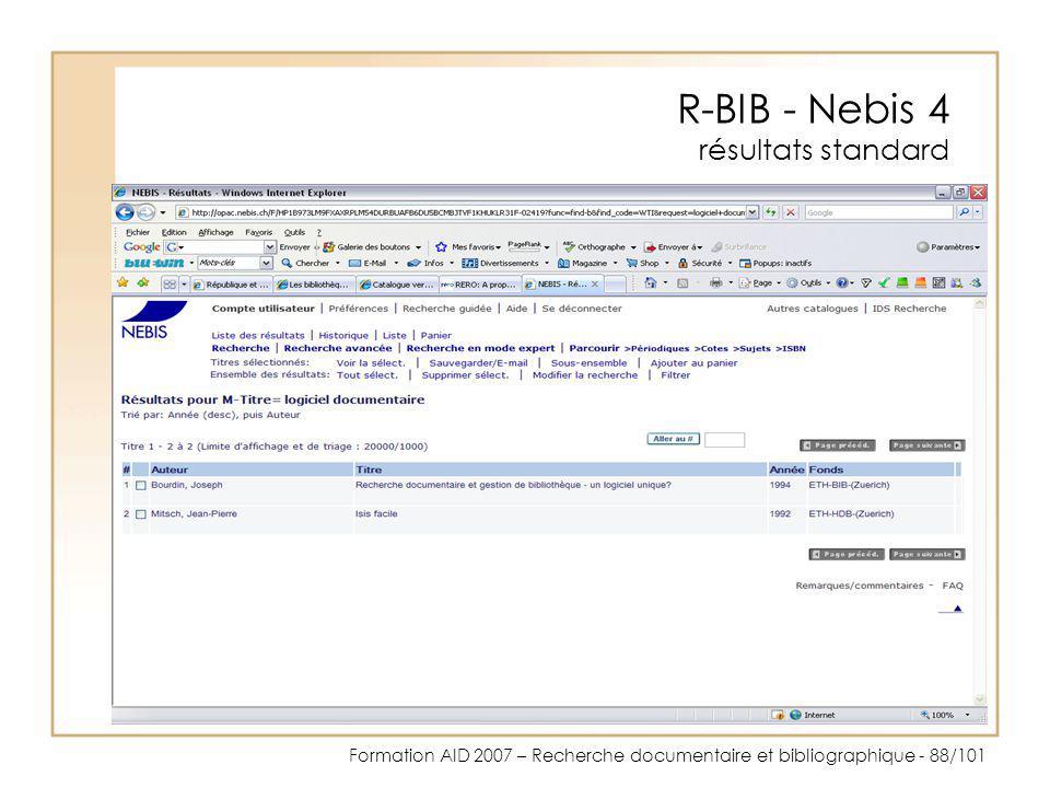 R-BIB - Nebis 4 résultats standard