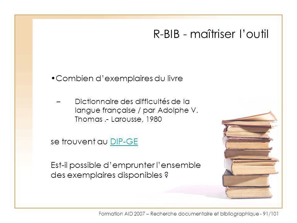 R-BIB - maîtriser l'outil