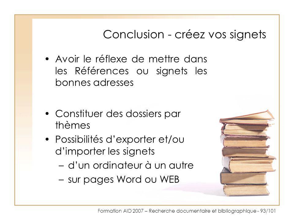 Conclusion - créez vos signets