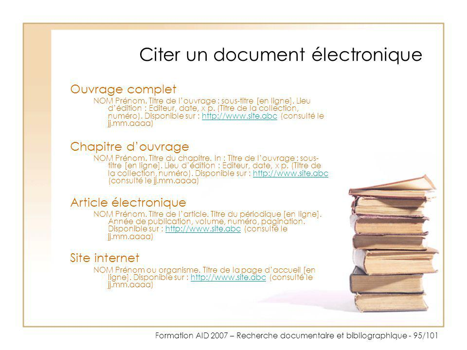 Citer un document électronique