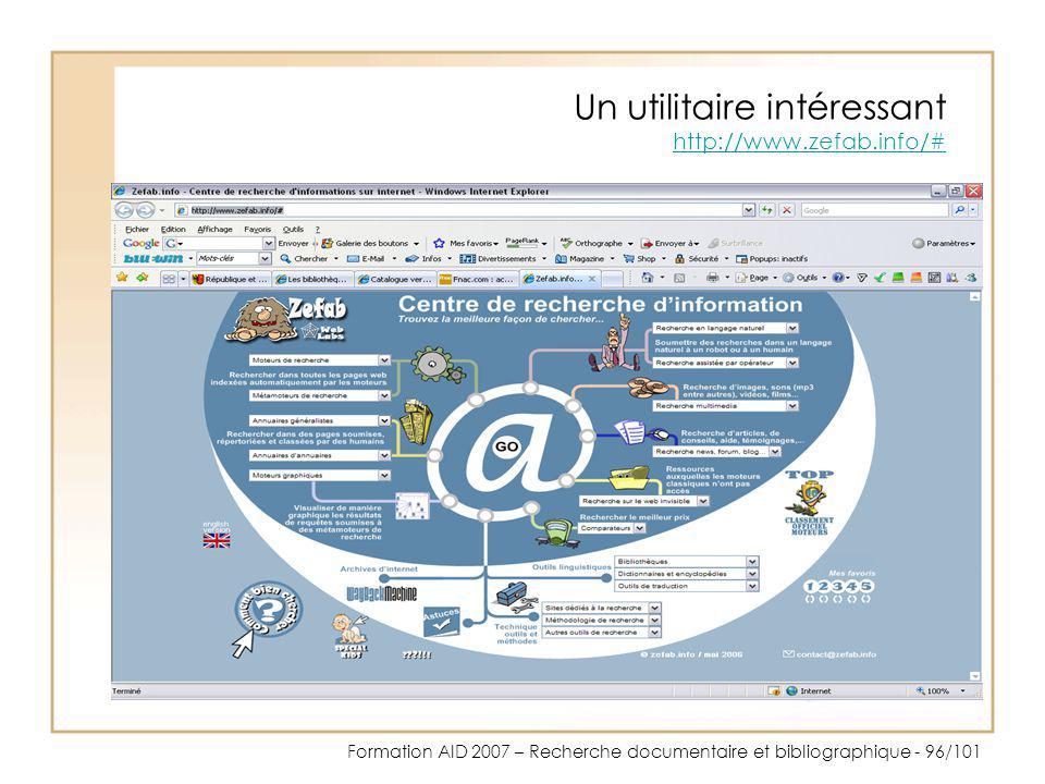 Un utilitaire intéressant http://www.zefab.info/#