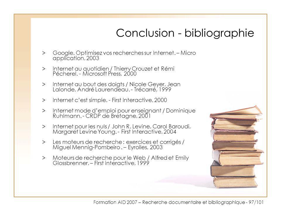 Conclusion - bibliographie