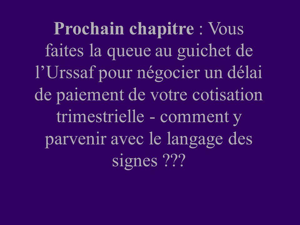 Prochain chapitre : Vous faites la queue au guichet de l'Urssaf pour négocier un délai de paiement de votre cotisation trimestrielle - comment y parvenir avec le langage des signes