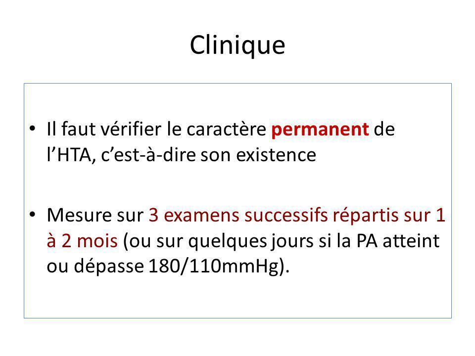 Clinique Il faut vérifier le caractère permanent de l'HTA, c'est-à-dire son existence.
