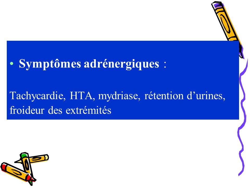 Symptômes adrénergiques :