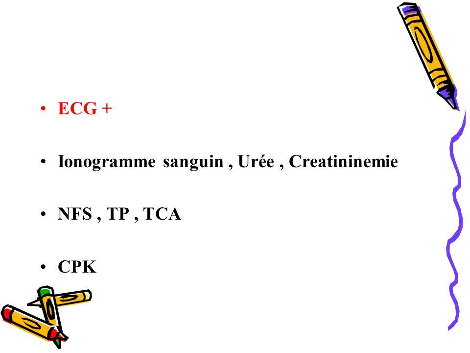 Ionogramme sanguin , Urée , Creatininemie NFS , TP , TCA CPK