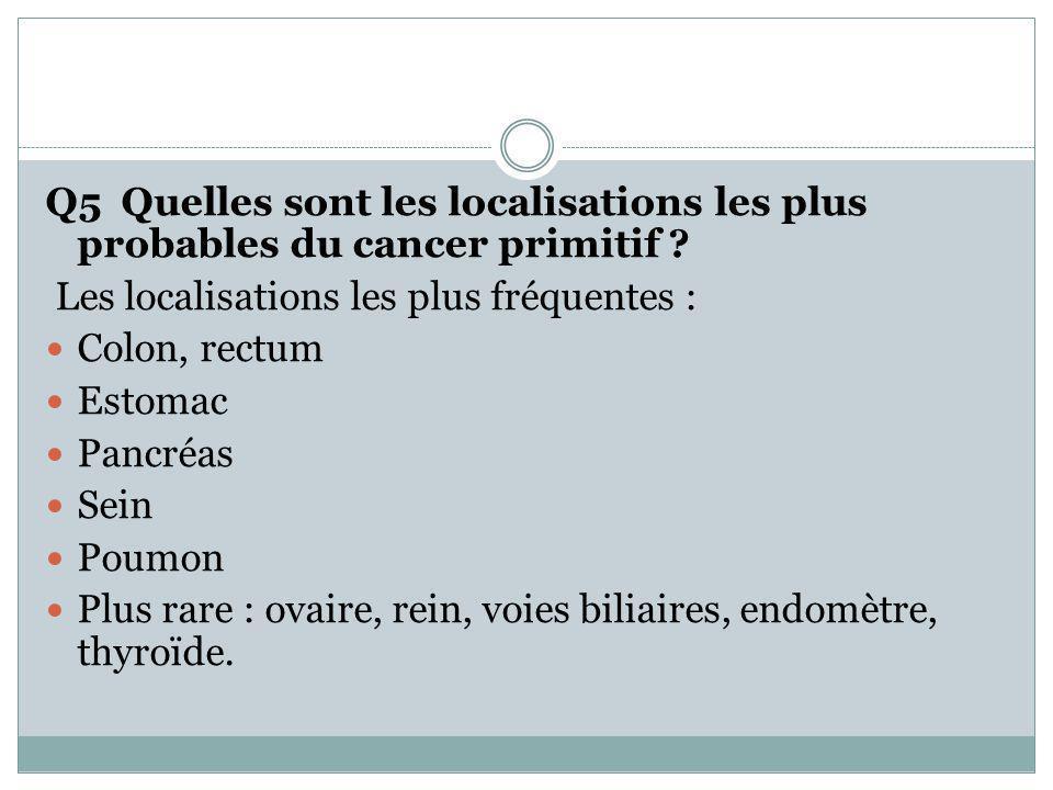 Q5 Quelles sont les localisations les plus probables du cancer primitif