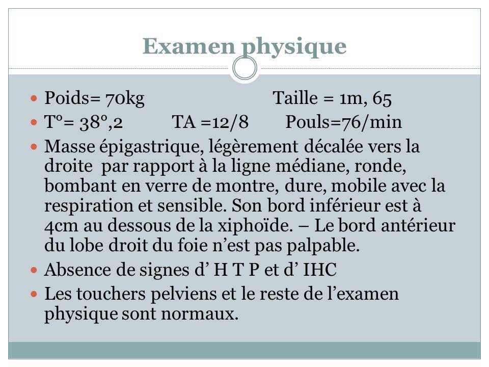 Examen physique Poids= 70kg Taille = 1m, 65