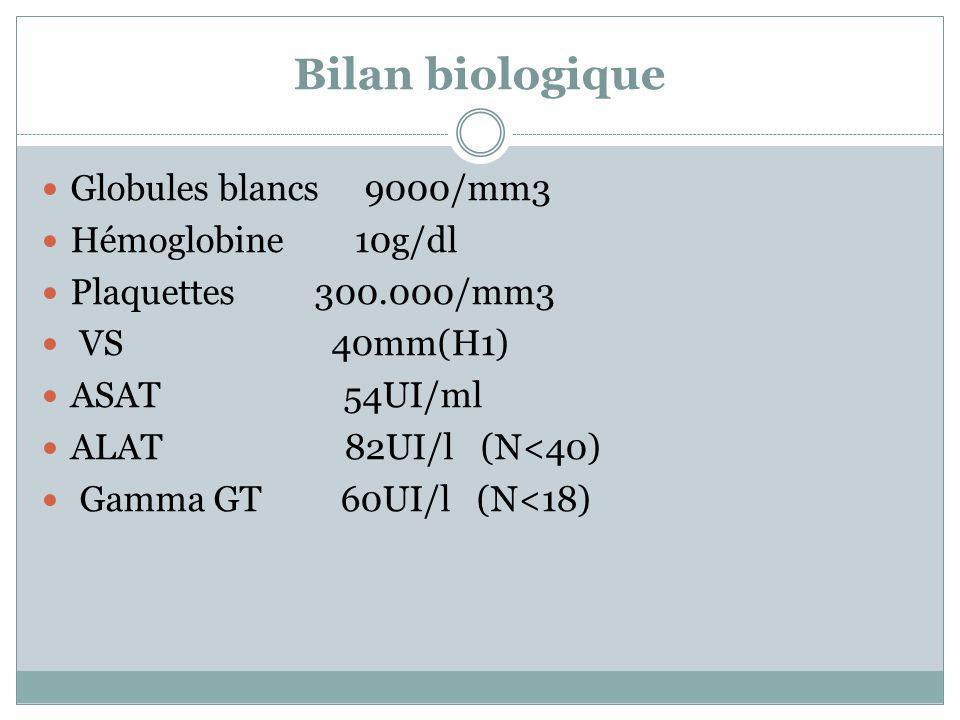 Bilan biologique Globules blancs 9000/mm3 Hémoglobine 10g/dl