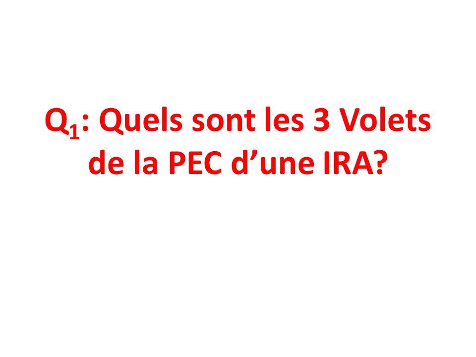 Q1: Quels sont les 3 Volets de la PEC d'une IRA