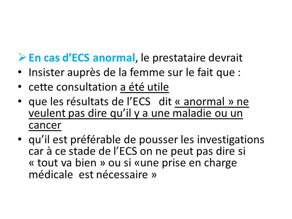 En cas d'ECS anormal, le prestataire devrait
