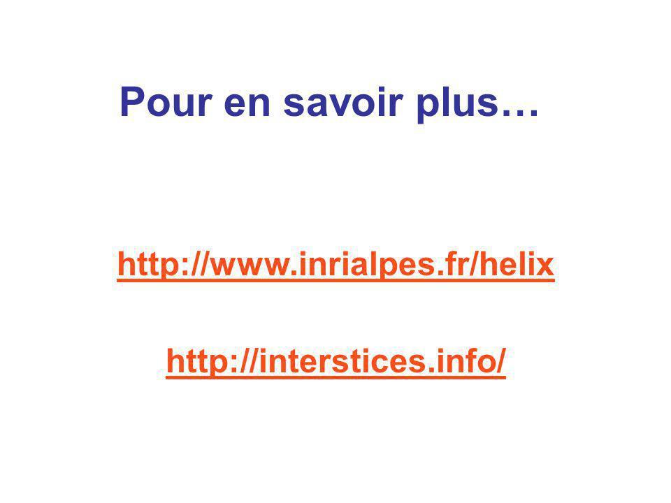 Pour en savoir plus… http://www.inrialpes.fr/helix