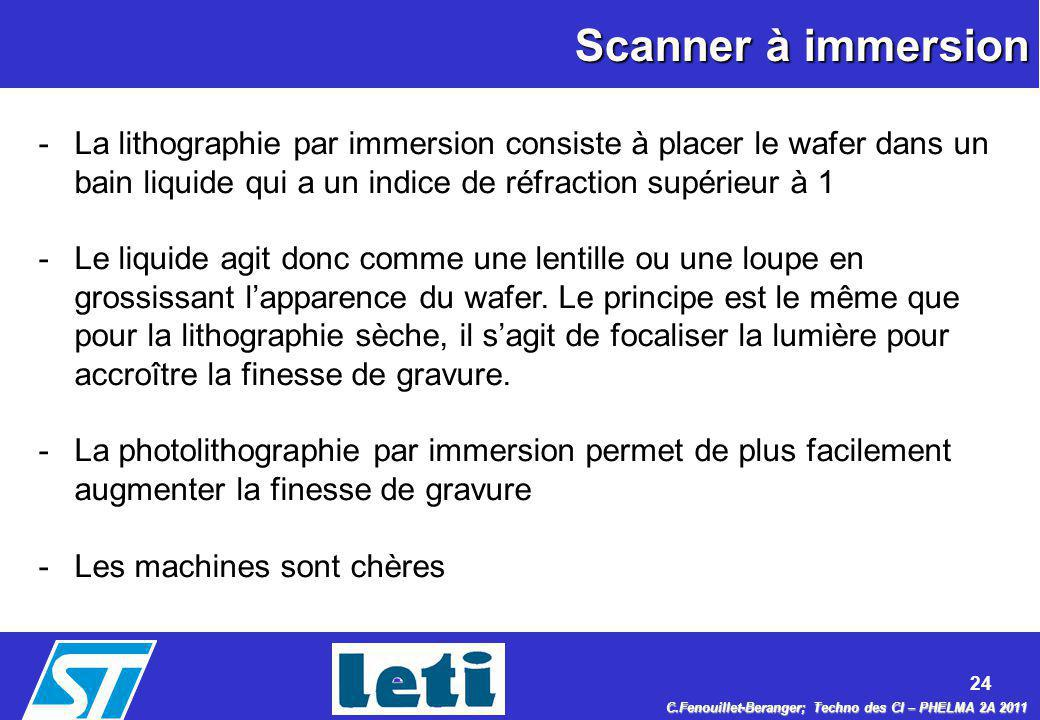 Scanner à immersion La lithographie par immersion consiste à placer le wafer dans un bain liquide qui a un indice de réfraction supérieur à 1.