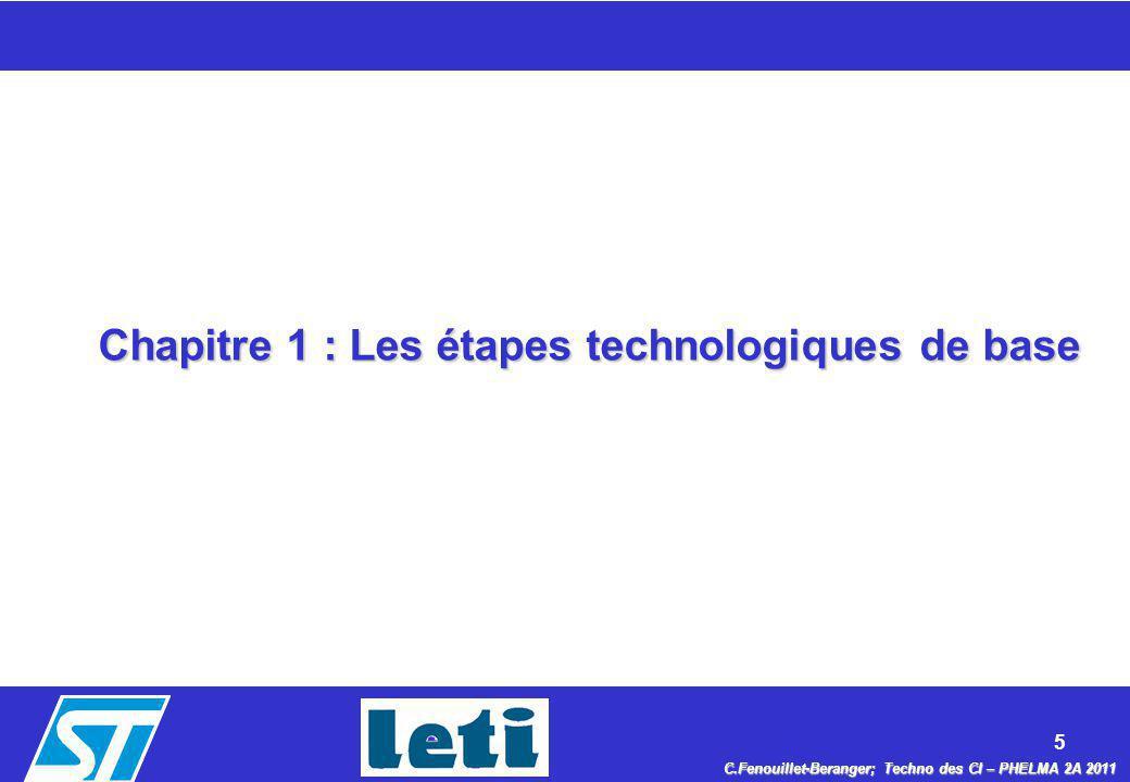 Chapitre 1 : Les étapes technologiques de base