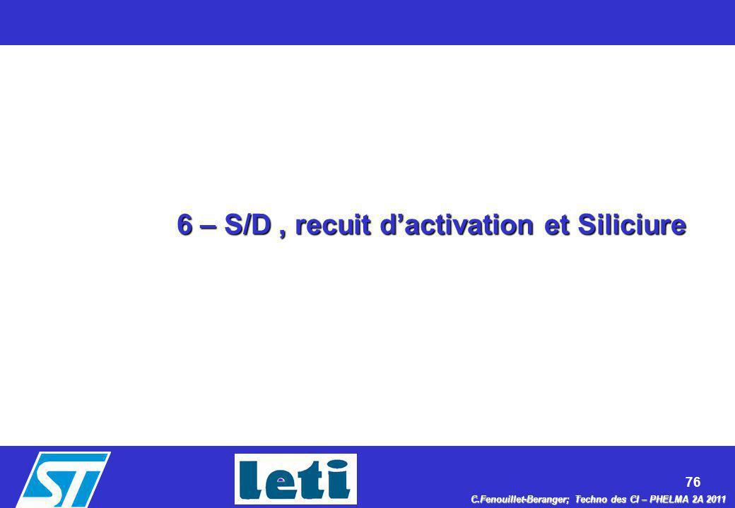 6 – S/D , recuit d'activation et Siliciure