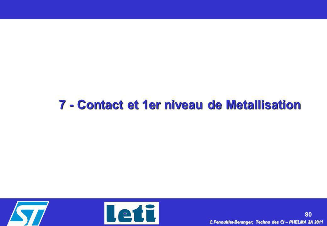 7 - Contact et 1er niveau de Metallisation