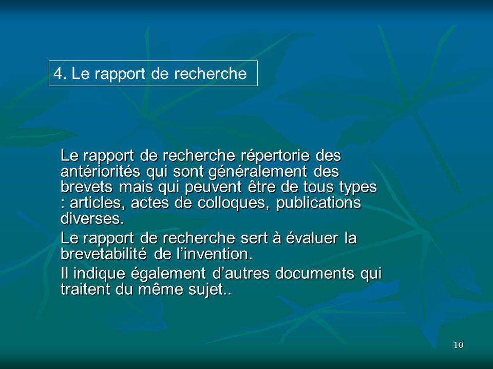 4. Le rapport de recherche