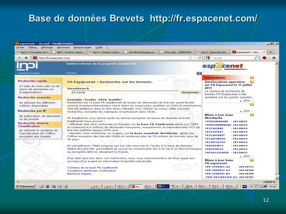 Base de données Brevets http://fr.espacenet.com/