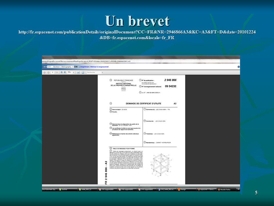 Un brevet http://fr.espacenet.com/publicationDetails/originalDocument CC=FR&NR=2946866A3&KC=A3&FT=D&date=20101224&DB=fr.espacenet.com&locale=fr_FR