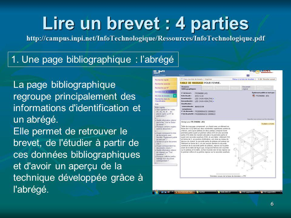 Lire un brevet : 4 parties http://campus. inpi