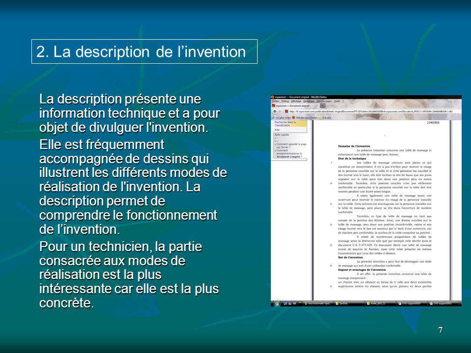 2. La description de l'invention