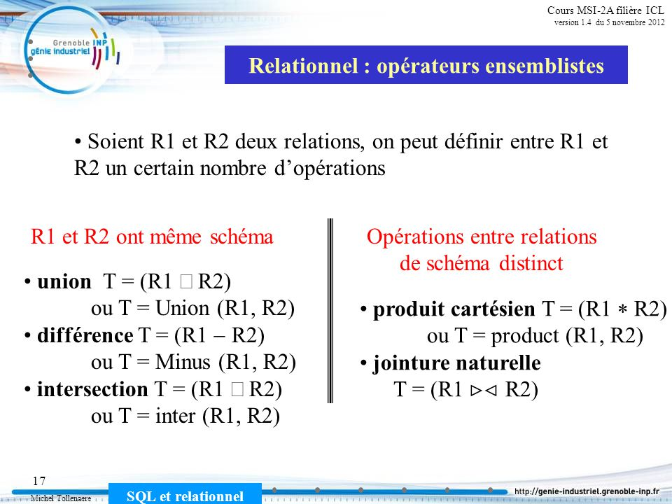 Relationnel : opérateurs ensemblistes