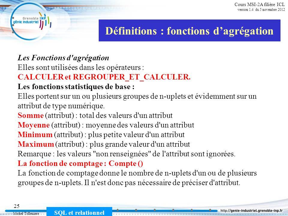 Définitions : fonctions d'agrégation