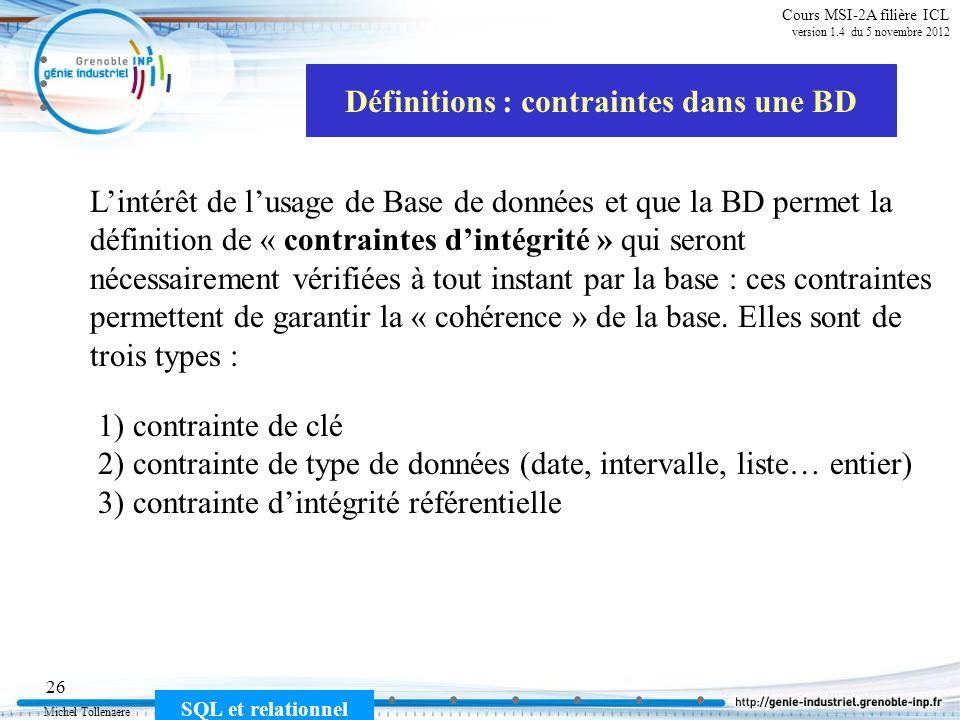 Définitions : contraintes dans une BD