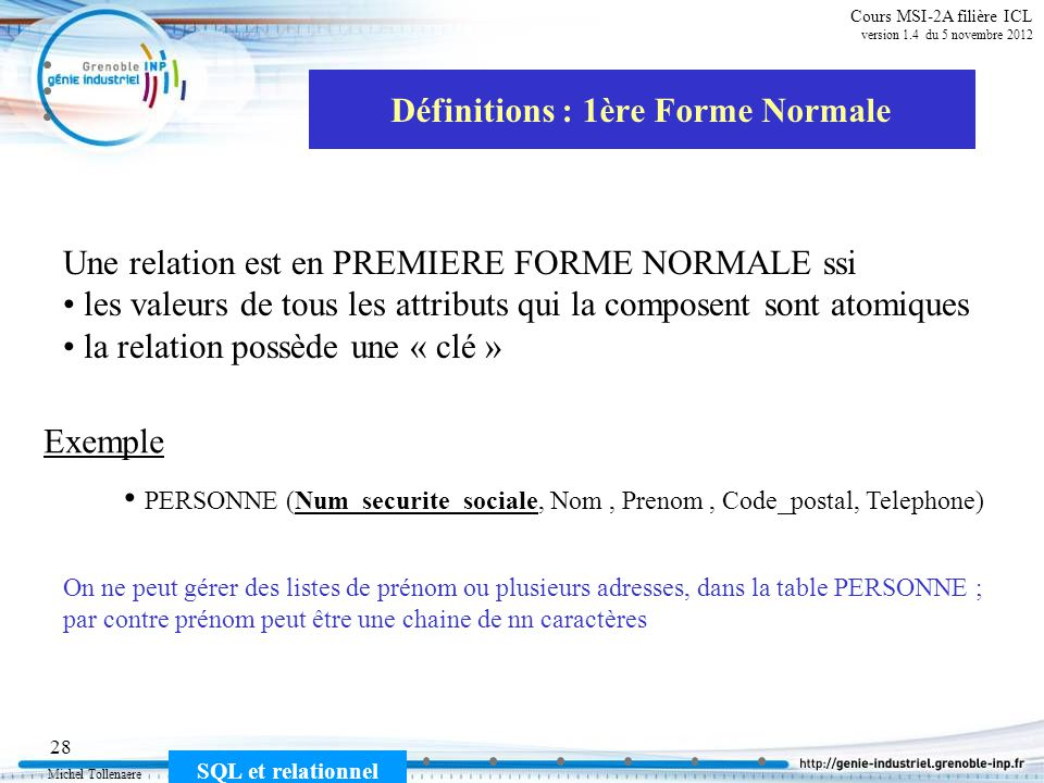 Définitions : 1ère Forme Normale