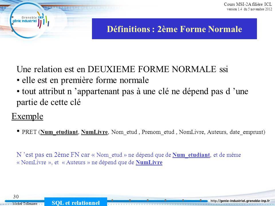 Définitions : 2ème Forme Normale