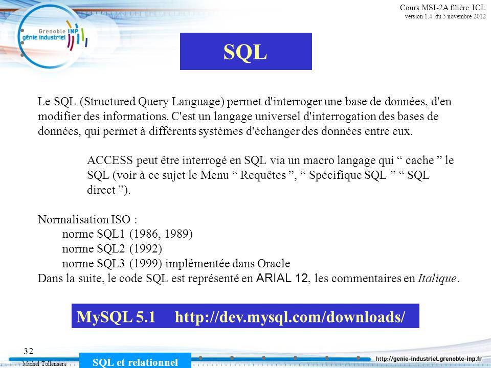 SQL MySQL 5.1 http://dev.mysql.com/downloads/