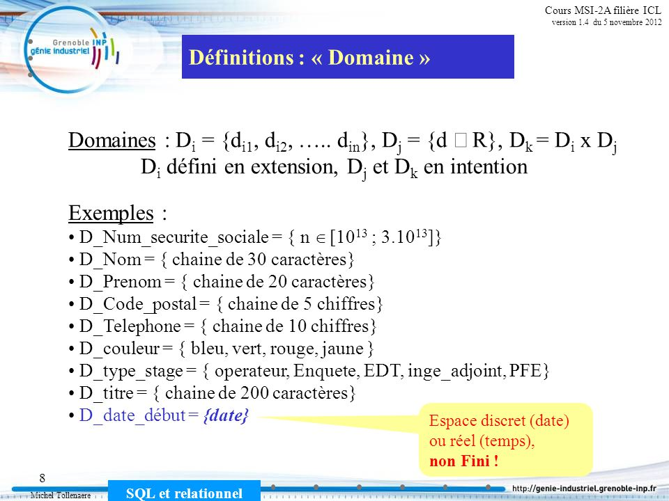 Définitions : « Domaine »