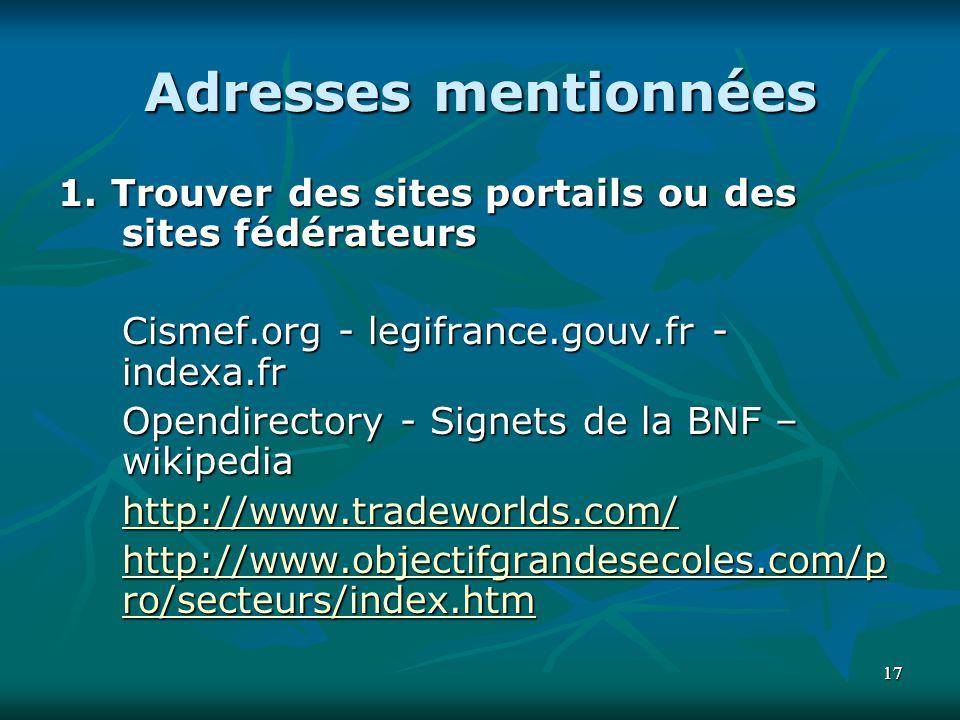 Adresses mentionnées 1. Trouver des sites portails ou des sites fédérateurs. Cismef.org - legifrance.gouv.fr - indexa.fr.