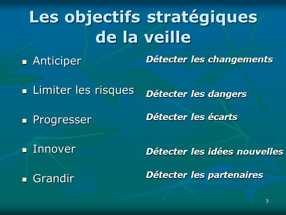 Les objectifs stratégiques de la veille