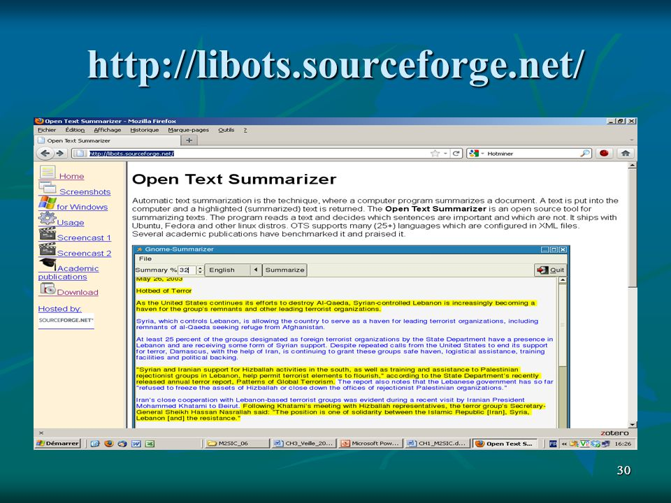 http://libots.sourceforge.net/ 30