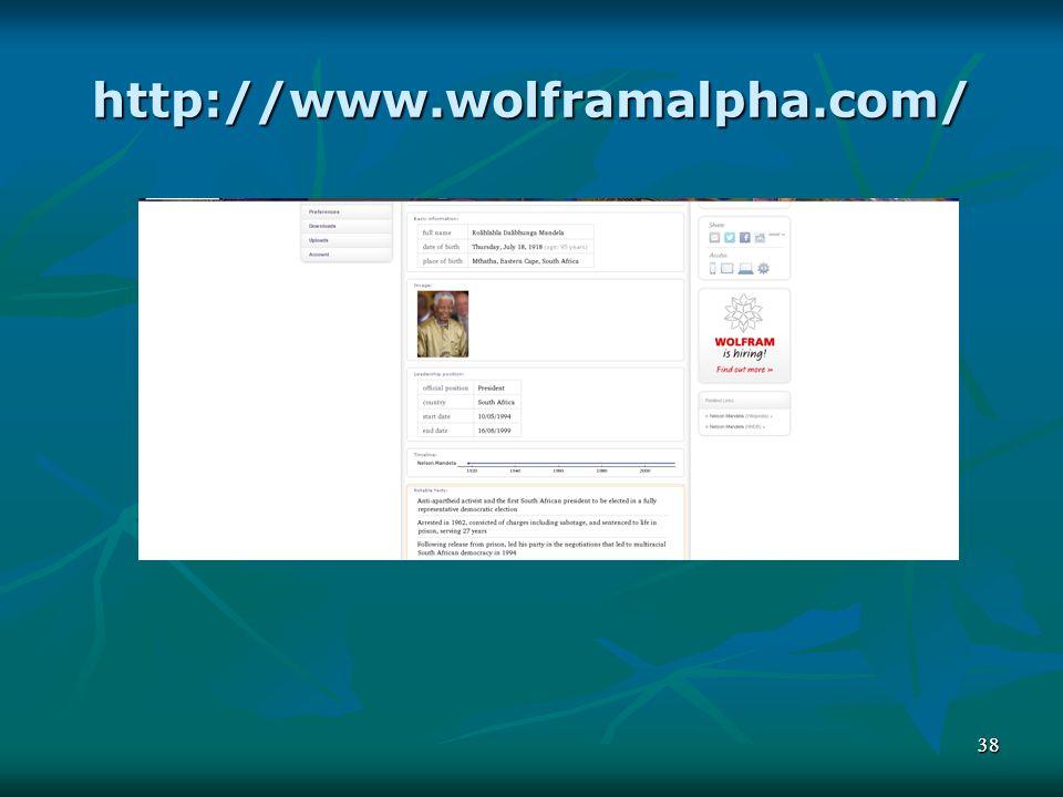 http://www.wolframalpha.com/ 38