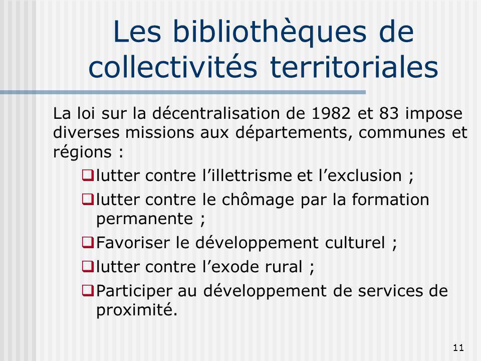 Les bibliothèques de collectivités territoriales