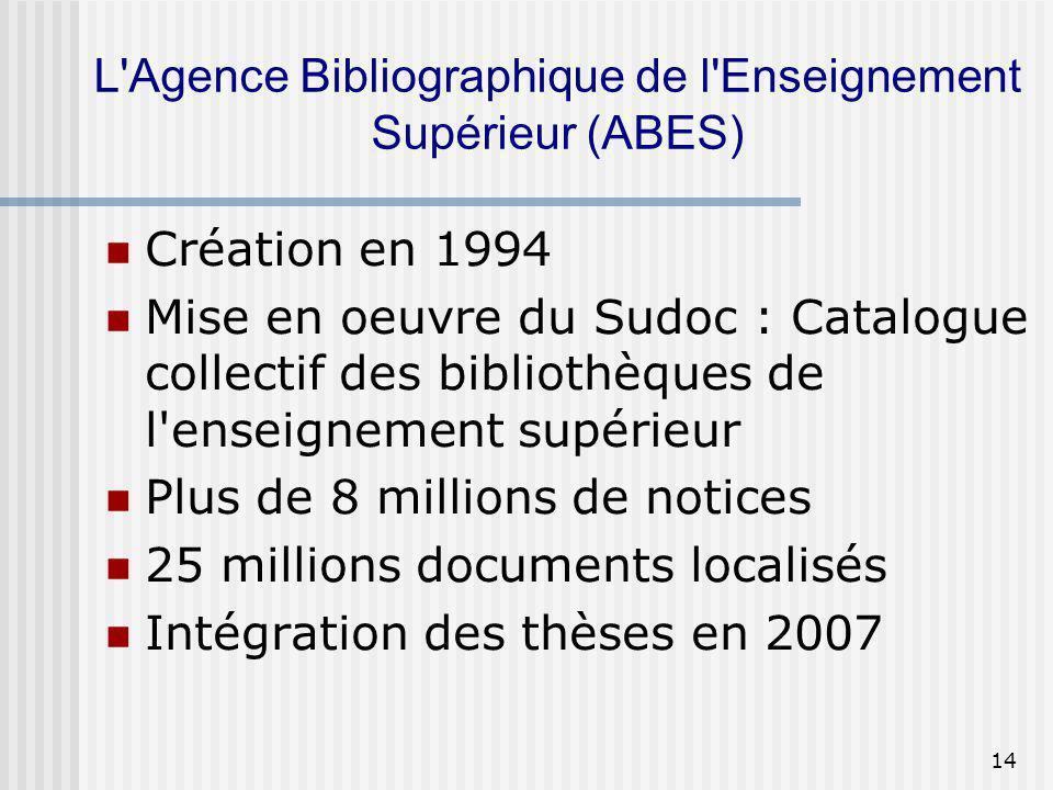 L Agence Bibliographique de l Enseignement Supérieur (ABES)