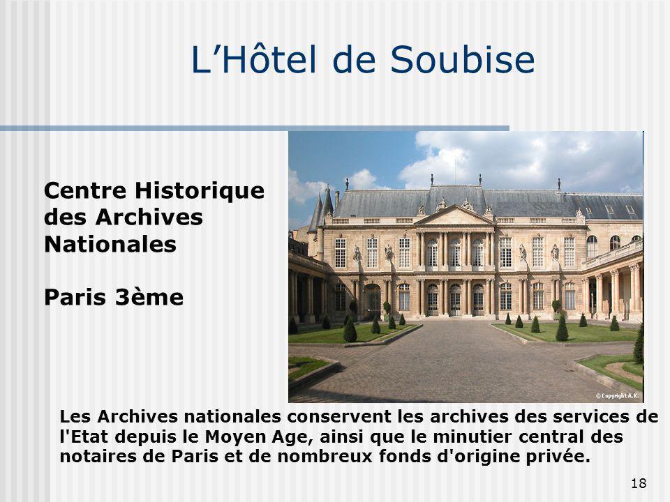 L'Hôtel de Soubise Centre Historique des Archives Nationales