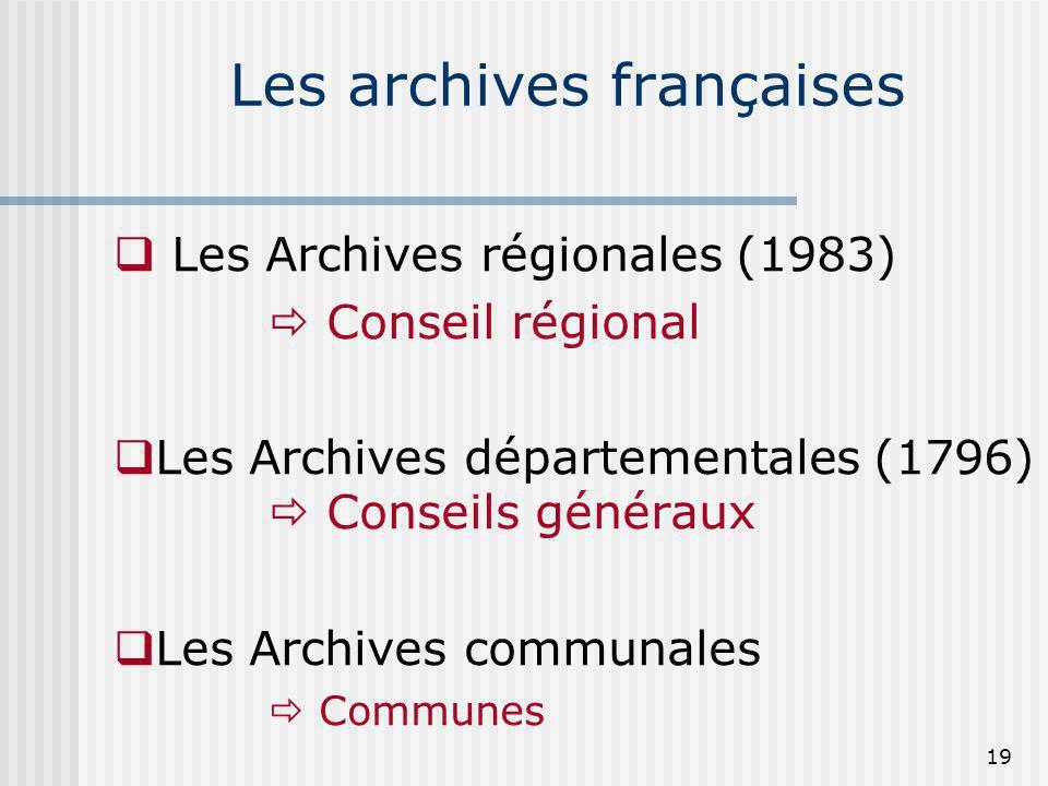 Les archives françaises