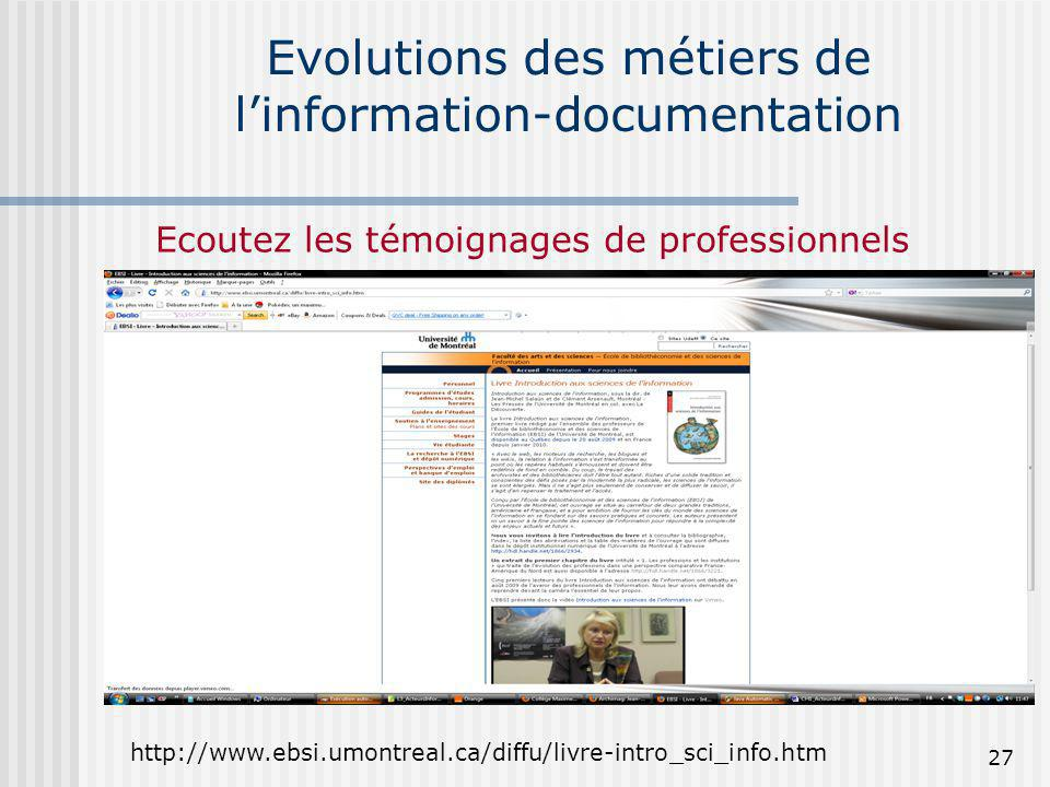 Evolutions des métiers de l'information-documentation
