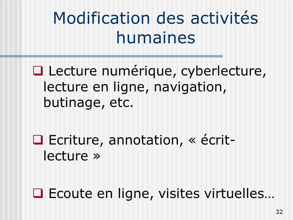 Modification des activités humaines