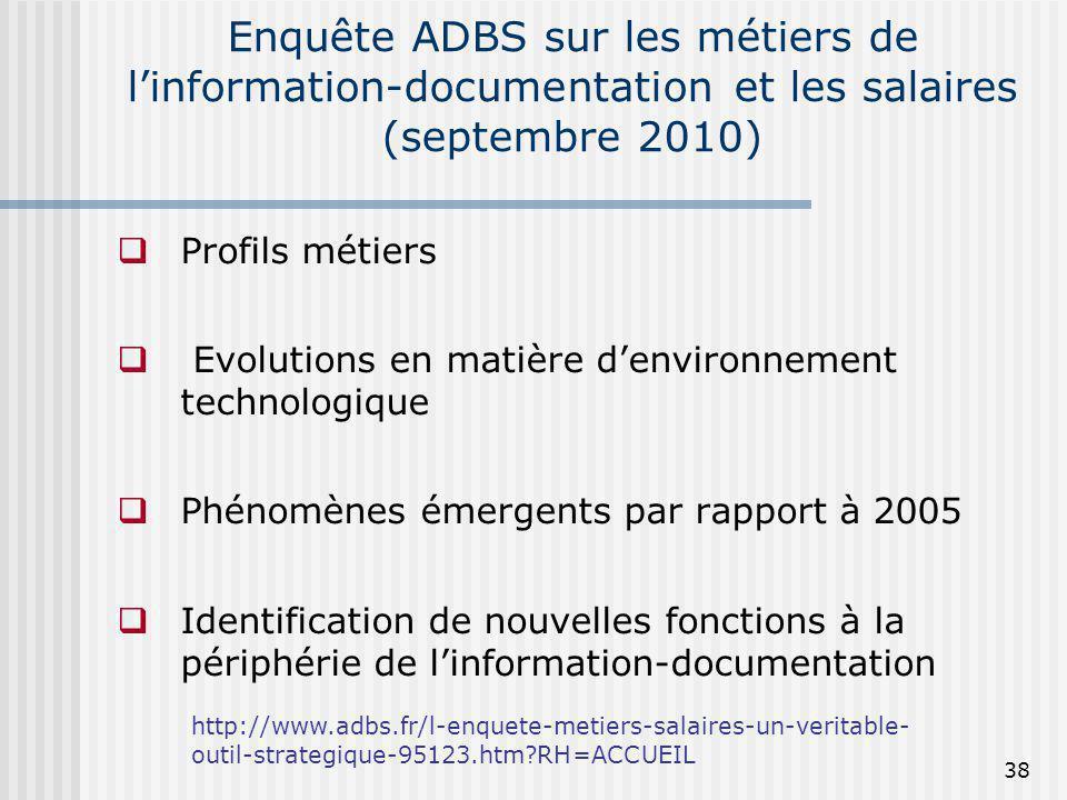 Enquête ADBS sur les métiers de l'information-documentation et les salaires (septembre 2010)