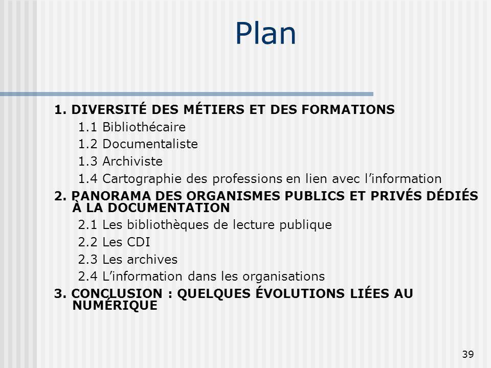 Plan 1. DIVERSITÉ DES MÉTIERS ET DES FORMATIONS 1.1 Bibliothécaire