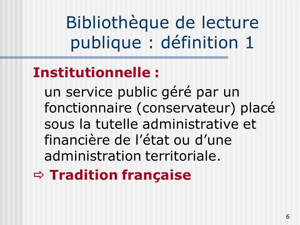 Bibliothèque de lecture publique : définition 1